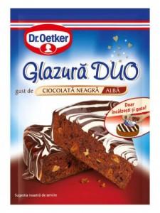 Poza 1 Glazura Duo cu gust de Ciocolata Neagra si Alba Dr. Oetker 100g