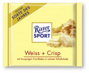 Poza 1 Ciocolata Alba cu Fulgi de Porumb si de Orez Ritter Sport 100g