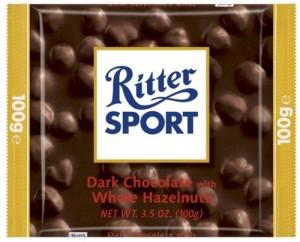 Poza 1 Ciocolata Amaruie cu Alune Intregi Ritter Sport 100g