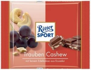 Poza 1 Ciocolata Ecologica cu Lapte, Nuci Caju si Stafide Ritter Sport 65g