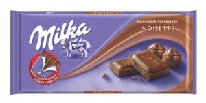 Poza 1 Milka Ciocolata Lapte si Pasta de Alune Noisette 100g