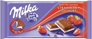 Poza 1 Milka Ciocolata Lapte cu crema de Iaurt cu aroma de Capsune 100g